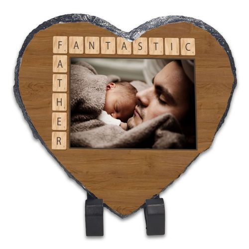 Personalised Fantastic Father Scrabble Rock Slate Photo Frame - Heart